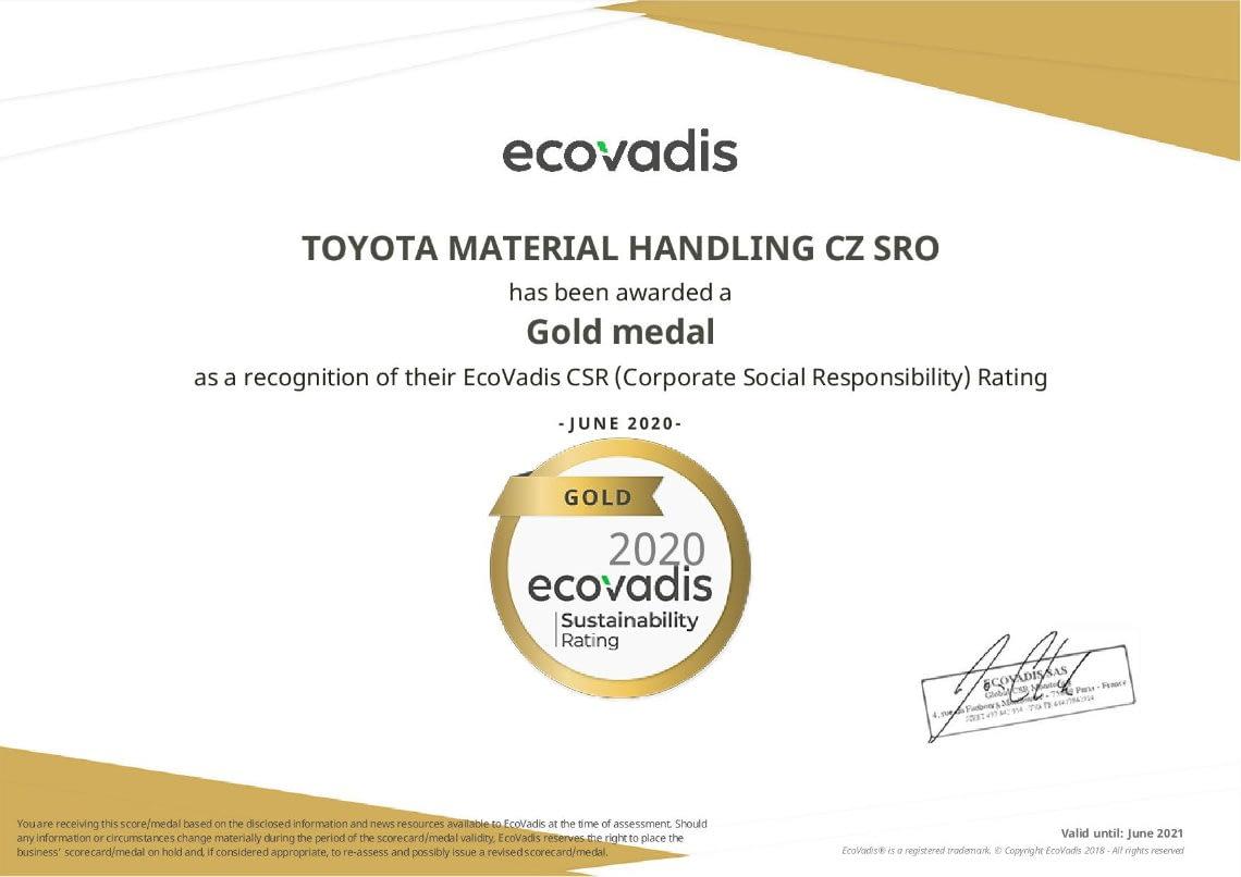 Certifikát Ecovadis